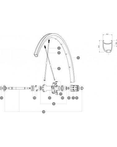 10 Radios Mavic R-SYS SLR/Ksyrium SLR 2015 293,5MM 125 aniversario