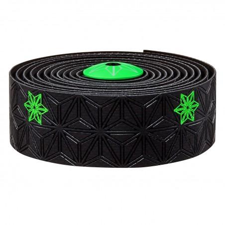 Cinta de manillar Supacaz Super Sticky Kush Galaxy Negro/Verde Fluor