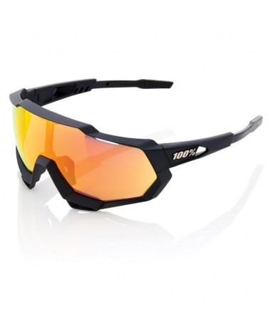 Gafas 100% Speedtrap Soft Tact Black Lente Espejo Roja HD Multilayer