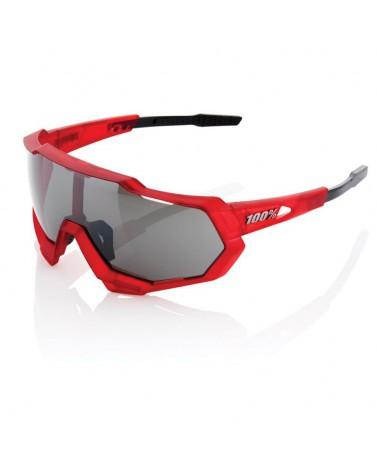 Gafas 100% Speedtrap Matte Red Matte Black Lente Espejo Negra
