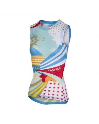 Camiseta Interior Castelli Pro Mesh Mujer sin mangas Azul Lago/Blanco