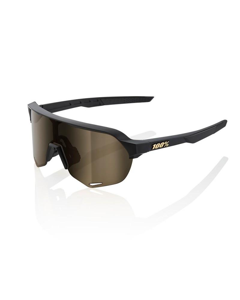 Gafas 100% S2 Negro Mate Lente Flash Gold