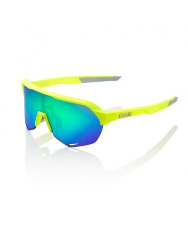 Gafas 100% S2 Amarillo Fluor Mate Lente Verde Espejo Multicapa