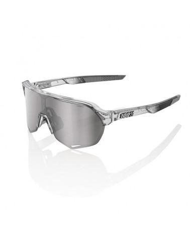 Gafas 100% S2 Cristal Gris Translúcido Pulido Lente Espejo Plata