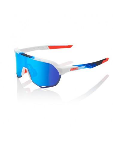 Gafas 100% S2 Blanco Mate/Geo Print Lente Espejo Azul Multicapa Hiper