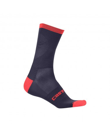 Calcetín Castelli Ruota 13 Dark Steel Blue/Red