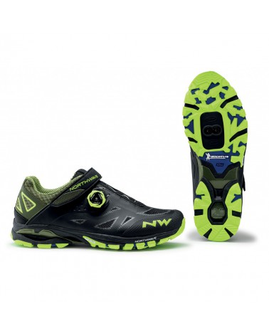 Zapatillas Mtb Northwave Spider PLus 2 Negro/Amarillo Fluor
